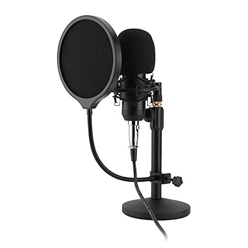 Jopwkuin Micrófono de grabación, Juego de grabación de diafragma pequeño Paquete de micrófono de Condensador Ajustable sin Unidad USB para transmisión de podcasts en PC