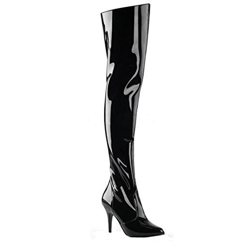 Higher-Heels PleaserUSA Overknee-Stiefel Vanity-3010 Lack schwarz Gr. 47