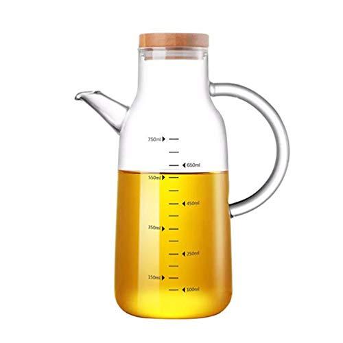 Cabilock Botella de Aceite de Vidrio Botella de Aceite de Borosilicato Botella Dispensadora Frasco de Salsa de Medición Botella de Pico de Aceite con Cubierta de Bambú (750ML)
