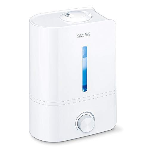 Sanitas SLB 40 Luftbefeuchter mit Ultraschall-Verneblung zur Raumluftbefeuchtung, mit Aromafunktion, für Räume bis 30m², leise