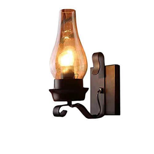 GYC Lámpara de Pared de Hierro Forjado de Barra de Bar de cafetería de Estilo Europeo, Estilo Industrial Retro, lámpara de Pared de Estudio de Dormitorio, lámpara de Vidrio de Pasillo de Personalidad