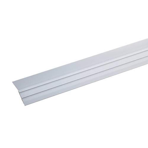 acerto 36833 Aluminium Abschlussprofil 100cm – silber 47 x 15mm, selbstklebend * Robust * Leichte Montage Aluprofil als professionelles Wandanschlussprofil Wand-Abschlussleiste für Laminat & Parkett