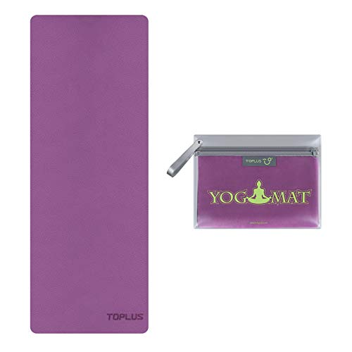 TOPLUS Travel Yoga Mat, 1/16 Inch Thin Foldable Travel Mat, High-Grade Natural Suede Anti Slip Hot Yoga Mat for Travel, Yoga and Pilates, Coming with Exquisite Carrying Bag