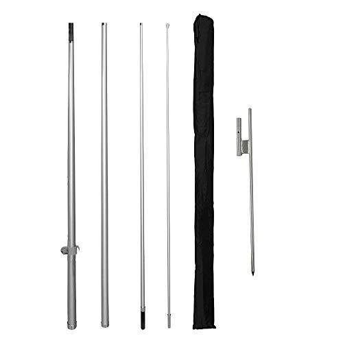 Vispronet Premium X-Large Feather Flag Pole Set – Swooper Flag Pole Set Includes 4 Poles, a Ground Stake, and a Carrying Bag – Fits 2.8ft x 14.8ft Feather Flags (No Flag Included)