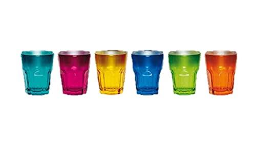 James Premium Home Trinkglas 6-er Set, 269 ml, Wasserglas, Longdrinkglas, Glas Becher, Mehrfarbig, bunt,