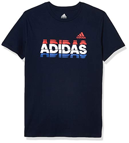 adidas Boys' Big Kids Short Sleeve Cotton Jersey Graphic T-Shirt, USA Tee Navy, Large