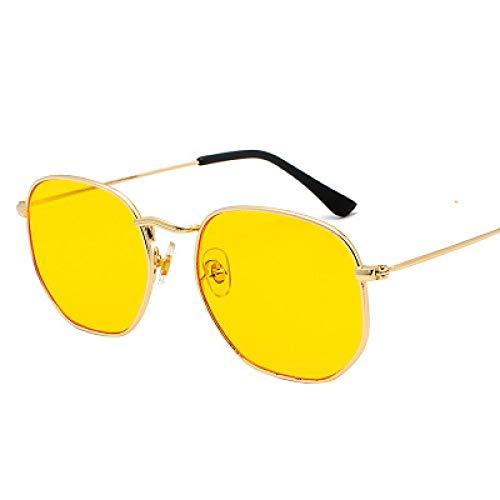 Secuos Gafas De Sol Hexagonales para Mujer, Gafas De Sol para Conducir para Hombre, Gafas De Sol para Hombre, Gafas De Sol Uv400, Amarillo Dorado