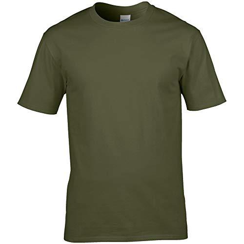 Gildan–T-Shirt 100% Baumwolle–Herren L militär-grün