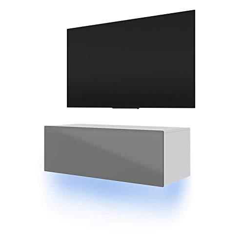 SLV SIMPLE - Mobile basso per TV, con LED blu (bianco opaco/grigio lucido, 100 cm)