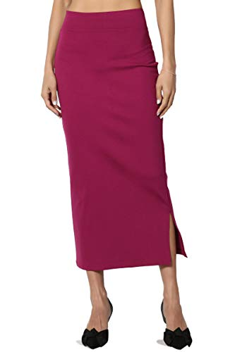 TheMogan Women's Side Slit Ponte Knit High Waist Mid-Calf Pencil Skirt Magenta XL