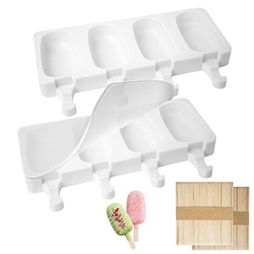 Eisformen Silikon Eiscreme Form 4 Popsicle Eis am Stiel Formen Set BPA Frei Wassereis Form Silikon Eis Pop Hersteller Kuchenform 2er Set mit Silikondeckel & 100 Holzstäbchen (Weiß)