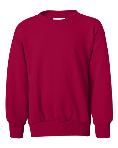 Hanes Youth ComfortBlend Long Sleeve Fleece Crew - p360, Red, Youth Large 14-16