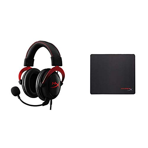 HyperX Cloud II Red Cuffie Gaming per PC/PS4/Mac/Mobile, Rosso + Fury S Pro Gaming Mouse Pad, L