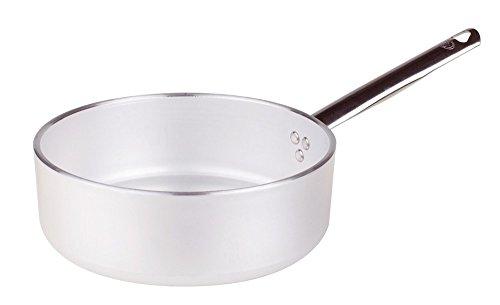 Pentole Agnelli ALMR110720 Linea Alluminio 5mm Casseruola Bassa con 1 Manico, 20 cm, Acciaio, Argento