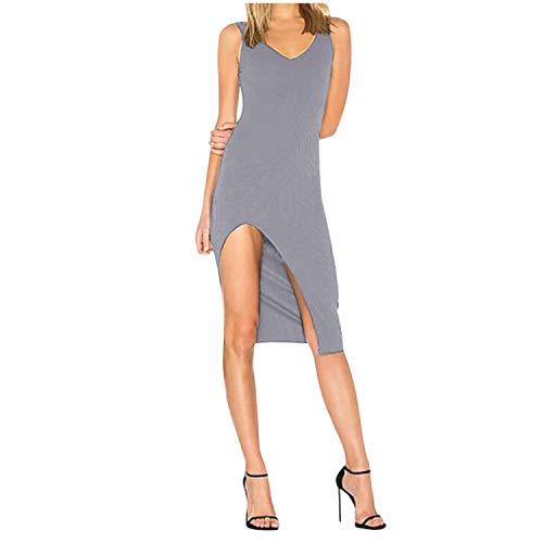 Elegant Women's Summer Dresses 2021 V Neck Backless Robe Club Sexy Dress Ladies Slim Party Spaghetti Slim Hem Split Dress #GH