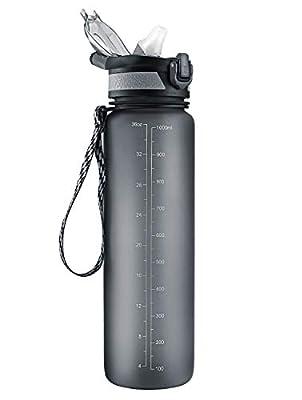 STOON Sports Water Bottle, 36oz Tritan BPA Free Water Bottle with Straw, One Click Open Flip Lid, Leak Proof Lock, Large Water Bottle for Outdoor Hiking Camping Travel