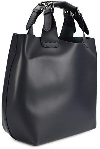 Belli italienische Damen Leder Handtasche Henkeltasche Schultertasche Cross Body - 41x32x15 (B x H x T) (Dunkelblau)