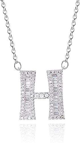 Collar Collar Plata Cadena Larga Collar con Letras Colgantes para Mujeres Circonita cúbica Cristal DIY Nombre Collar Inicial Charms Collar Regalo Niñas Niños