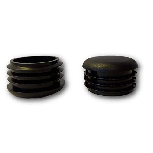20 Deslizador/tapón, plástico, negro, con láminas, cabeza redondeada, para tubos redondos