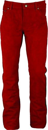 Fuente Slim fit Lederhose lang Herren/Damen eng- Lederjeans - Echt Leder Nubuk Leder mit Aniline Kontrast, Lederhose Jeans 501 Rot-Schwarz- Motorrad Lederjeans (46, Rot-Schwarz)
