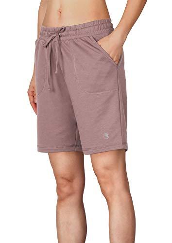 icyzone Damen Sweatshorts Bermuda Shorts Kurze Sporthose Sweatpants Einfarbig Loose Laufshorts (L, Taro Lila)