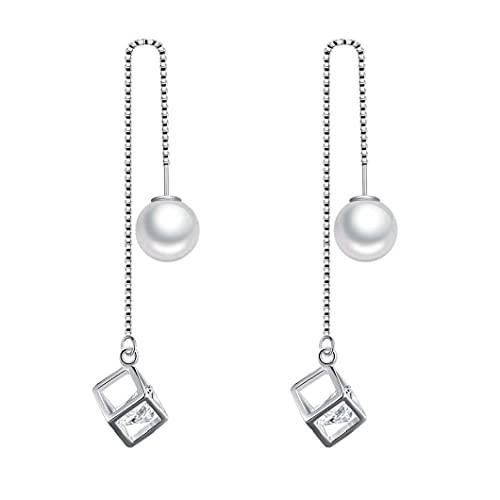 NaisiCore Las Mujeres cuelga los Pendientes de Gota Colgante de Perla de la Borla Larga Cubo de Cristal de Plata a 10cm Muchachas de Las Mujeres