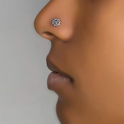 Unique Nose Ring Stud, Sterling Silver Indian Nose Pin Piercing, Tribal Style, 20g, Bone End Back Shape, Handmade Body Jewelry