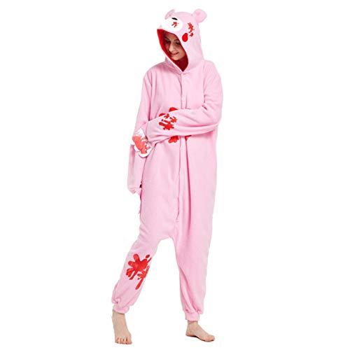 JBDGNZ Pijama para Mujer, Pijama de Oso de Animal de Dibujos Animados, Ropa para el hogar, Polar, Franela, Parejas para Pijamas, Mono de Cosplay de Halloween, Verde, S