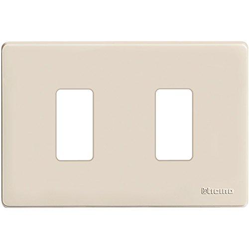 BTicino 503/2/R/F Placca 2 posti, Bianco