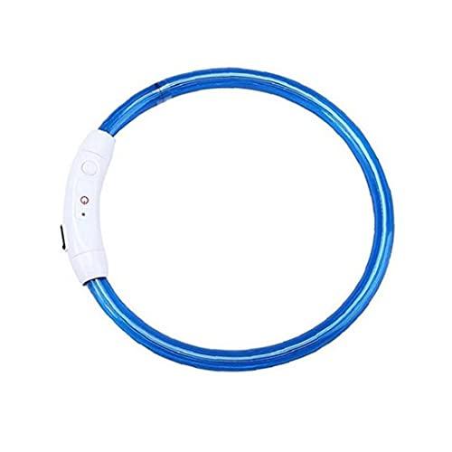 SouiWuzi Cuello de Perro LED de Seguridad, Collar de Perros Ligeros LED USB Recargable Recargable a Prueba de Agua Collar de Seguridad Azul para Mascotas 50 cm