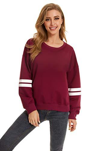 SMENG - Sudadera de manga larga con cuello redondo para mujer, color liso, para otoño, estilo informal, moderna y cómoda