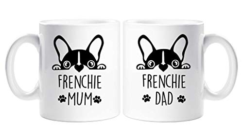 Couples Mug Set Frenchie Mum Dad Present French Bull Dog Pet Present