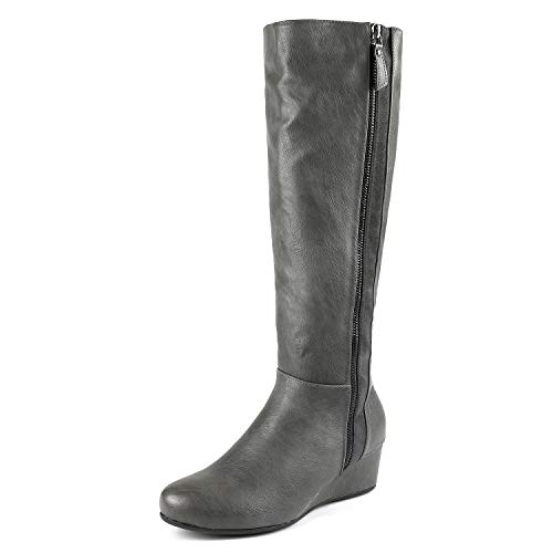 DREAM PAIRS Women's Consta Grey Low Wedge Knee High Winter Boots Size 6 M US