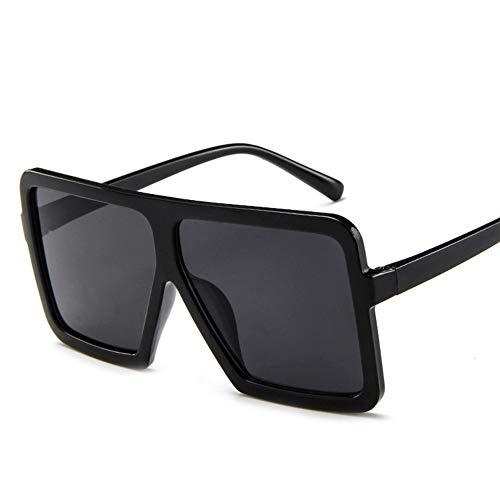 Tree-es-Life Gafas de Sol de Moda para Hombres y Mujeres Gafas de Sol con Personalidad de Montura Grande Gafas de Sol con Personalidad de Moda Unisex Negro Brillante Gris