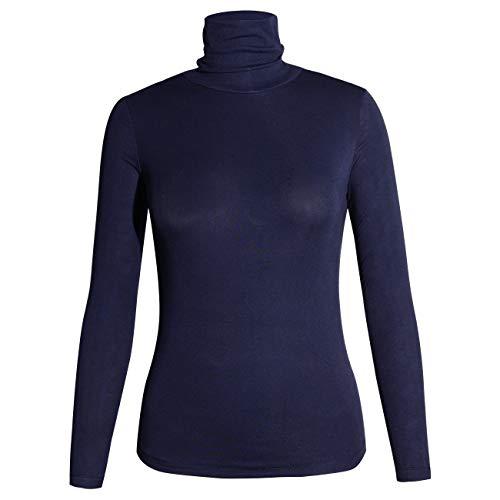 STARBILD Damen Rollkragenpullover Langarmshirt Rollkragen Slim Fit Oberteile Rolli - Rollkragenshirt - Turtleneck T Shirt,Dunkelblau S