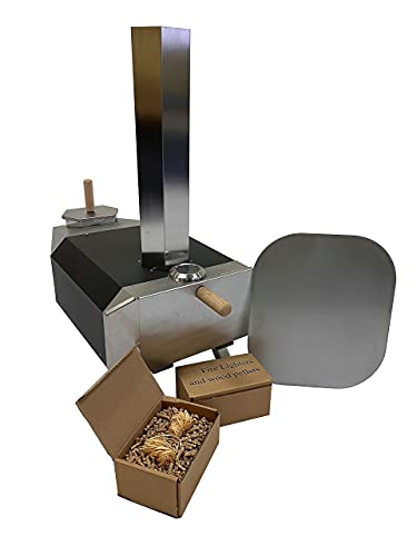 """Char Outdoors The No. 1 Pizza Oven for 12"""" Pizzas, Handmade in UK, Stainless Steel, Portable Design, Wood Fired Pizza Oven with Thermometer, Peel, 1.5kg Pellets and 4 Firelighters – 2 Year Guarantee"""