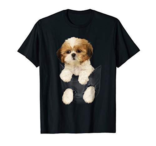 Shih tzu Puppy in Pocket T-Shirt