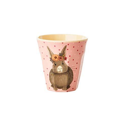 Rice Kinderbecher, Durchmesser 8cm, Höhe 6 cm, mit süßem Tierprint Hase aus der Serie Animal Farm rosa