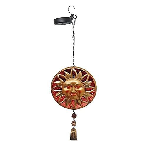 WINBST Lámpara solar con carillón de viento, sol, luna y estrellas, lámpara LED móvil, resistente al agua IP44, carrillón colgante, decoración romántica, 21,5 x 18 x 66 cm