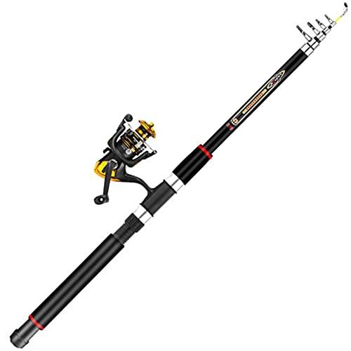 TIANLU Caña de pescar Caña de pescar telescópica de fibra de carbono con carrete Combo Kit de agua dulce de agua salada de mar Kit de caña de pescar-# 1 (1.8M)