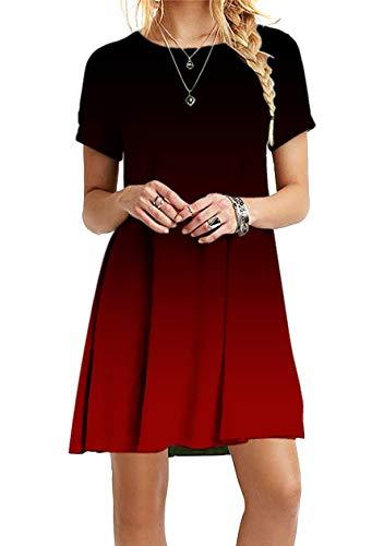 OMZIN Sexy Kleid Kurzarm Shirtkleid Sommerkleider Strandkleider Shirtkleider Swingkleid Bequem Casual Kleid Lockeres Kleid Baumwolle Wein Rot 5XL