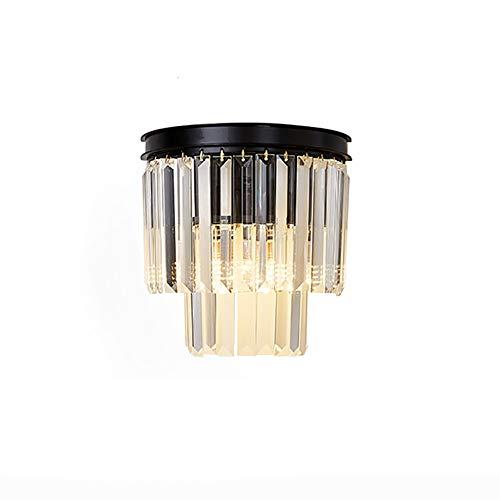 Nórdico Lujoso Cristal Transparente Lámpara De Pared,E14 Ajuste Fácil Decorar Aplique Pared,Cabecera Salón Hotel Cafetería Luz De Pared-Negro 25x25cm(10x10inch)