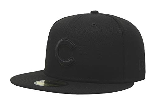 New Era 59Fifty Hat MLB Basic Chicago Cubs Black/Black Fitted Baseball Cap (8)