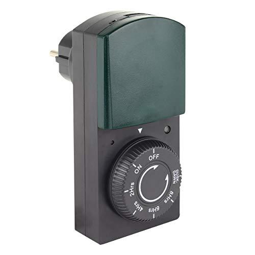 REV OUTDOOR ZEITSCHALTUHR mit Dämmerungs-Funktion | mechanische Tageszeit-Schaltuhr mit Countdown-Funktion | für den Außenbereich IP 44 | mit Kinderschutz | Farbe: schwarz-grün