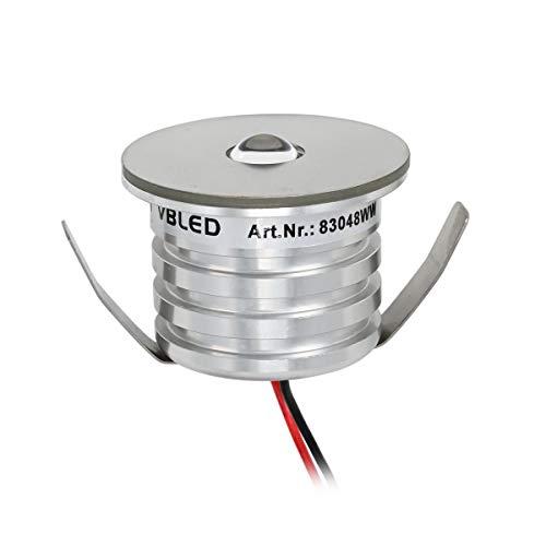 VBLED® 3W LED Mini Spot, Einbaustrahler 3000K Warmweiß, 12VDC Dimmbar, Aluminium, IP44 Wassergeschützt