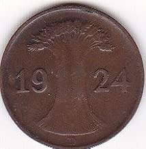 1924-D Germany/Deutsches Reich 1 Rentenpfennig Coin - Weimar Republic
