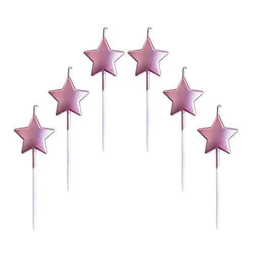 Candeline Compleanno a Forma Stella,6 Pcs Particolari Candele di Compleanno a Forma Stellare per Decorazione della Torta di Feste di Compleanno e Matrimonio,Oro Rosa