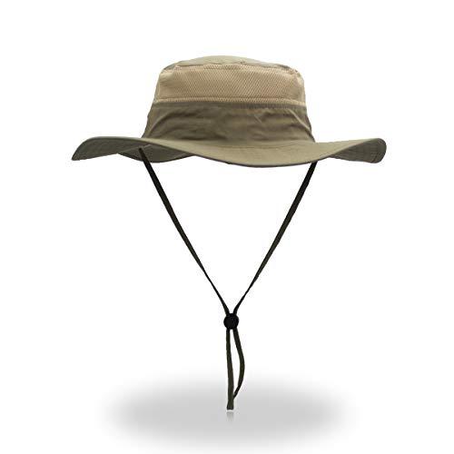 EONPOW Sombrero de Sol para Hombre Mujer Factor de protección 50 UV, Sombreros de Pesca para Exteriores, Estilo Pescador con Rejilla, 56-61 cm