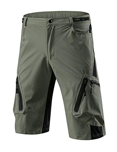 Jueshanzj Ciclismo pantalones para hombre de verano de secado rápido off-road ciclismo al aire libre ropa deportes bicicleta de montaña pantalones cortos ciclismo ropa hombre, Ejercito Verde, 46