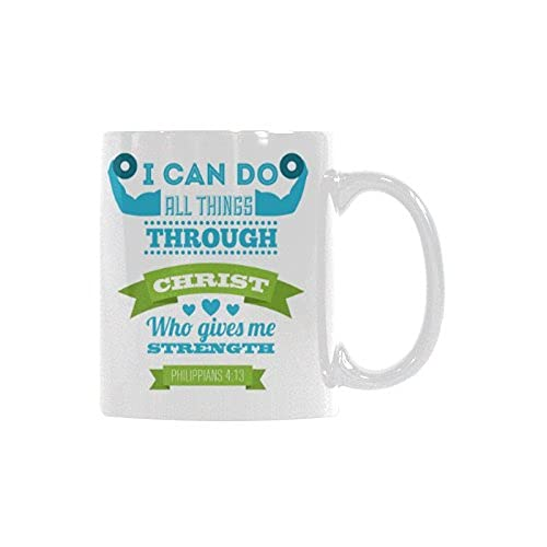 N\A Christian Bible Verse Filipenses 4 13 Puedo Hacer Todas Las Cosas a través de Cristo Tazas de café de cerámica Blanca Tazas de té de Oficina para Mujeres Hombres niños mamá papá Amigos, 11 onzas